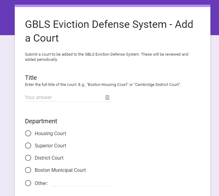 Screenshot of Google Form to add a Court to GBLS Eviction Defense System.