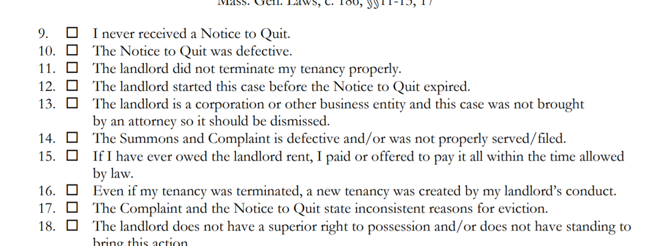 Initial defenses section of pro se eviction Answer